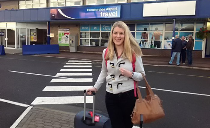 woman outside airport